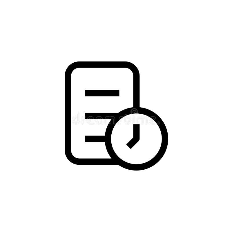 Projeto do ícone do trabalho do fim do prazo tarefa de papel com símbolo do pulso de disparo linha limpa simples vetor profission ilustração royalty free
