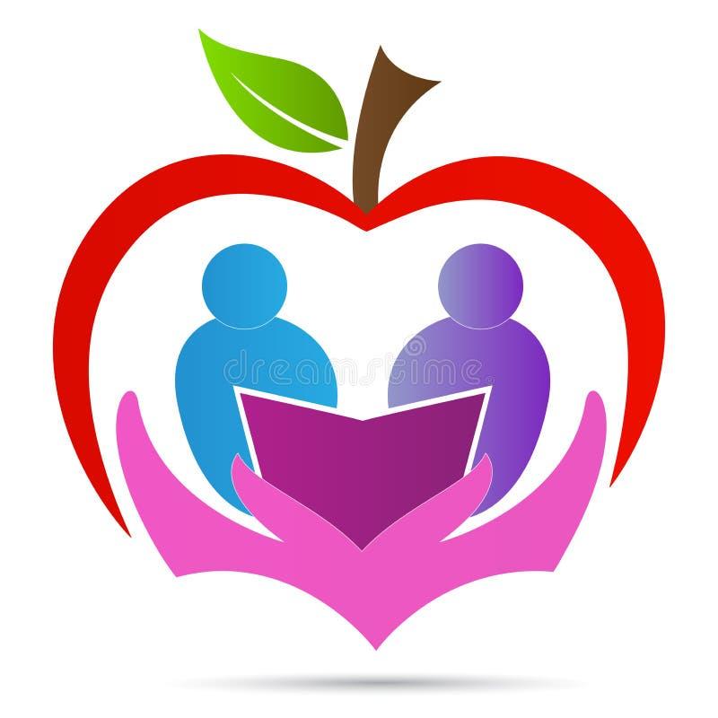 Projeto do ícone do vetor do símbolo do livro do cuidado do estudante da maçã do logotipo do estudo da educação ilustração royalty free