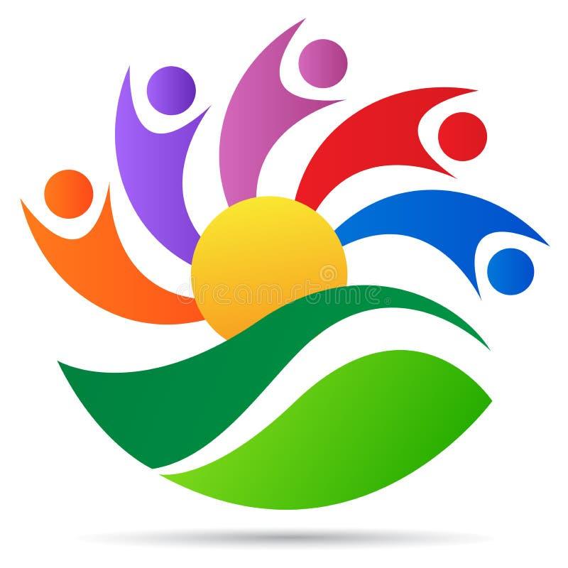 Projeto do ícone do vetor do símbolo do sol da folha da natureza dos cuidados médicos do logotipo do bem-estar dos povos ilustração royalty free