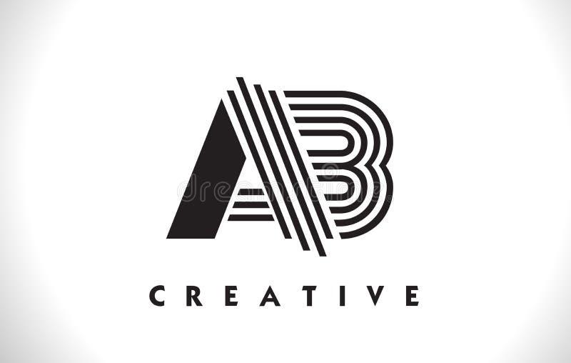 Projeto do AB Logo Letter With Black Lines Linha vetor Illus da letra ilustração do vetor
