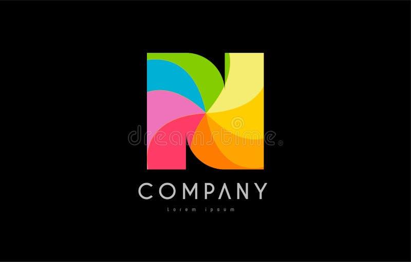 Projeto do alfabeto do ícone do logotipo das cores do arco-íris de N ilustração do vetor