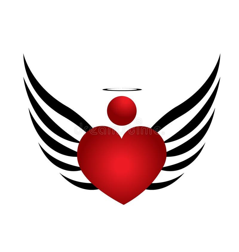 Projeto do anjo do coração ilustração royalty free