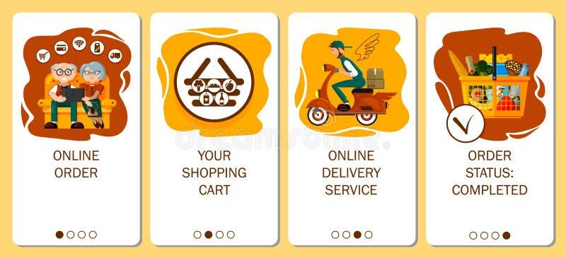 Projeto do app m?vel ?s telas onboarding Servi?o em linha da ordem, entrega do alimento, mantimento da ordem na loja em linha ilustração stock