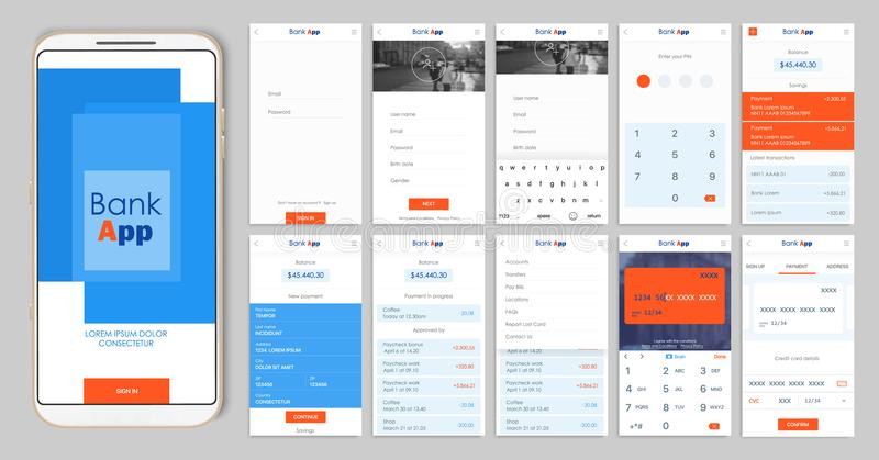 Projeto do app móvel UI, UX Um grupo de telas do GUI para a operação bancária móvel ilustração stock