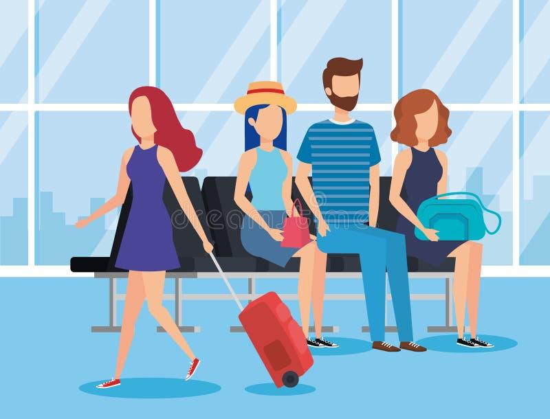Projeto do banco do terminal de aeroporto ilustração royalty free