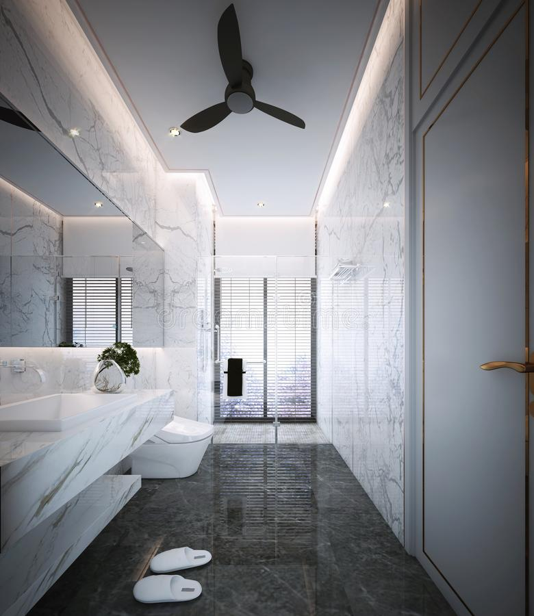 Projeto do banheiro, interior do estilo luxuoso moderno ilustração stock