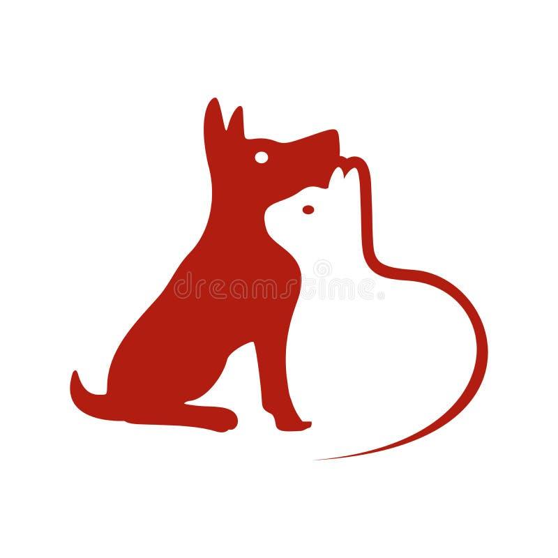 Projeto do cão e da Cat Negative Space Symbol Logo ilustração stock