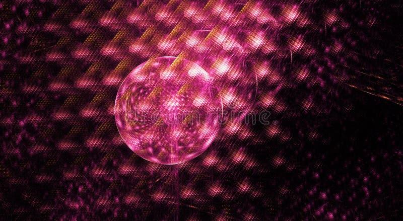 Projeto do círculo do Fractal com forma roxa e cor-de-rosa dos cristais ilustração stock