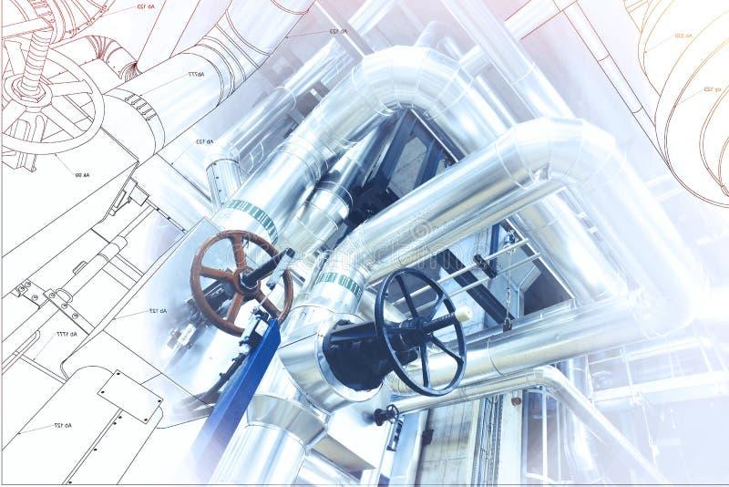 Projeto do cad do computador de Wireframe dos encanamentos em industrial moderno imagens de stock royalty free