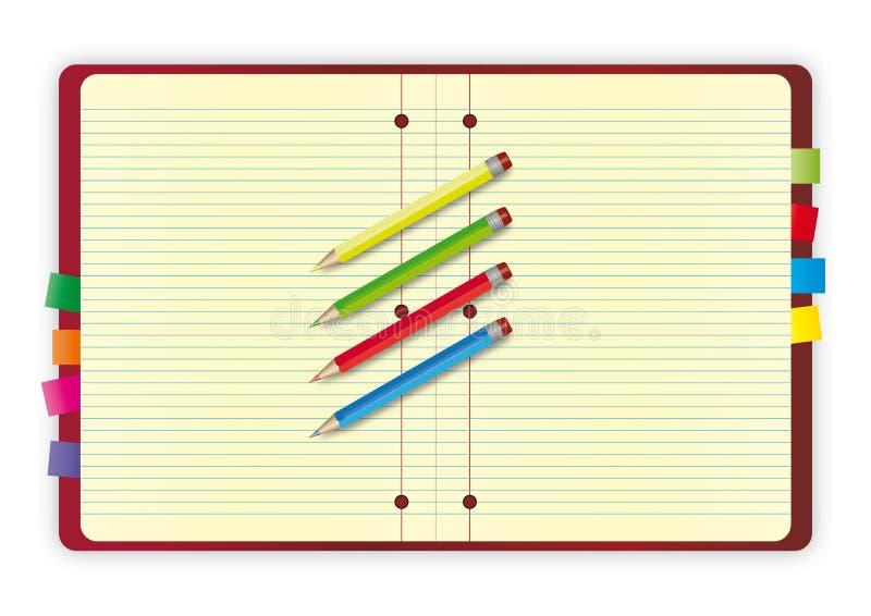 Projeto do caderno com lápis ilustração royalty free
