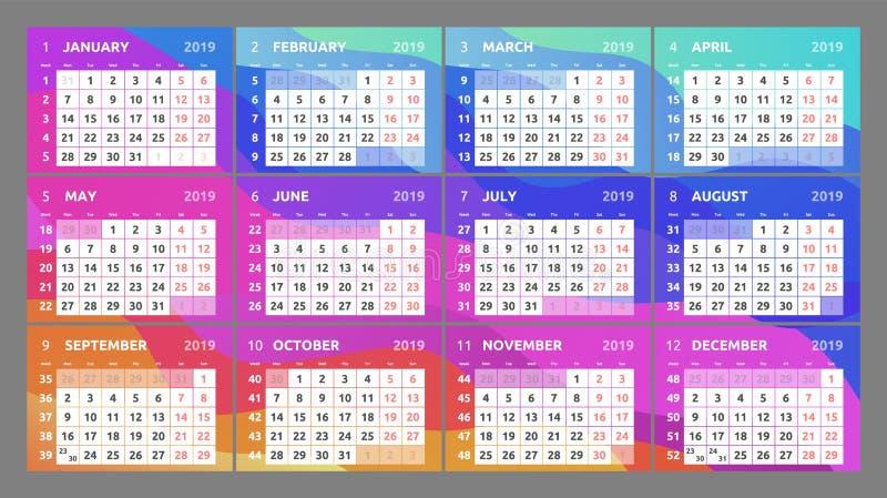 Projeto do calendário para 2019 Começos da semana em segunda-feira