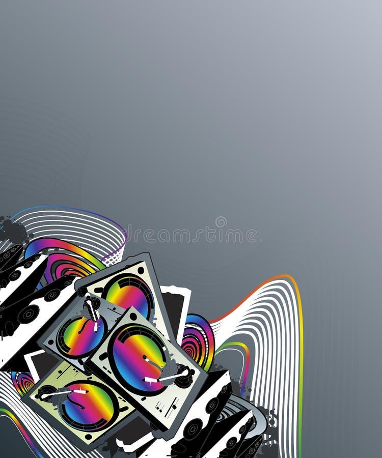 Projeto do canto do arco-íris da música da plataforma giratória ilustração royalty free