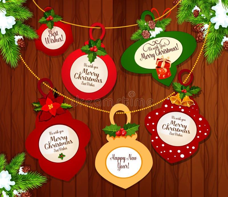 Projeto do cartão do Natal e do ano novo ilustração royalty free