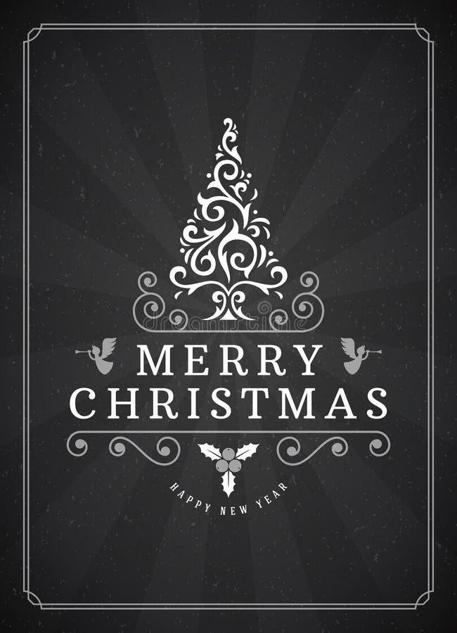 Projeto do cartão ou do cartaz de cumprimentos do Feliz Natal ilustração stock