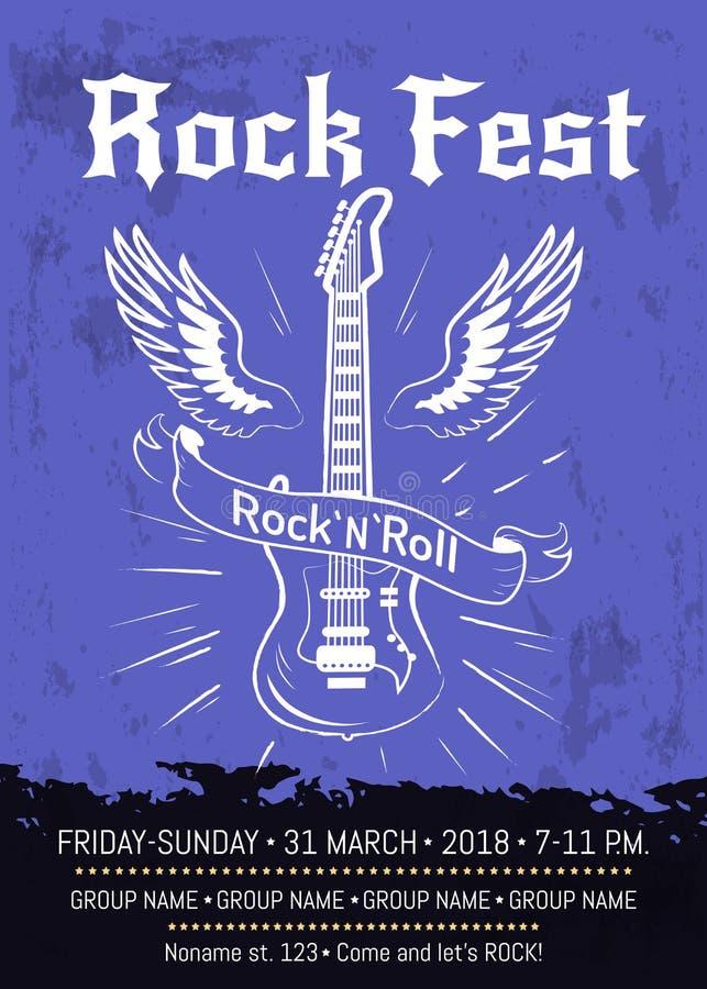 Projeto do cartaz do anúncio do Fest do rolo da rocha n ilustração stock