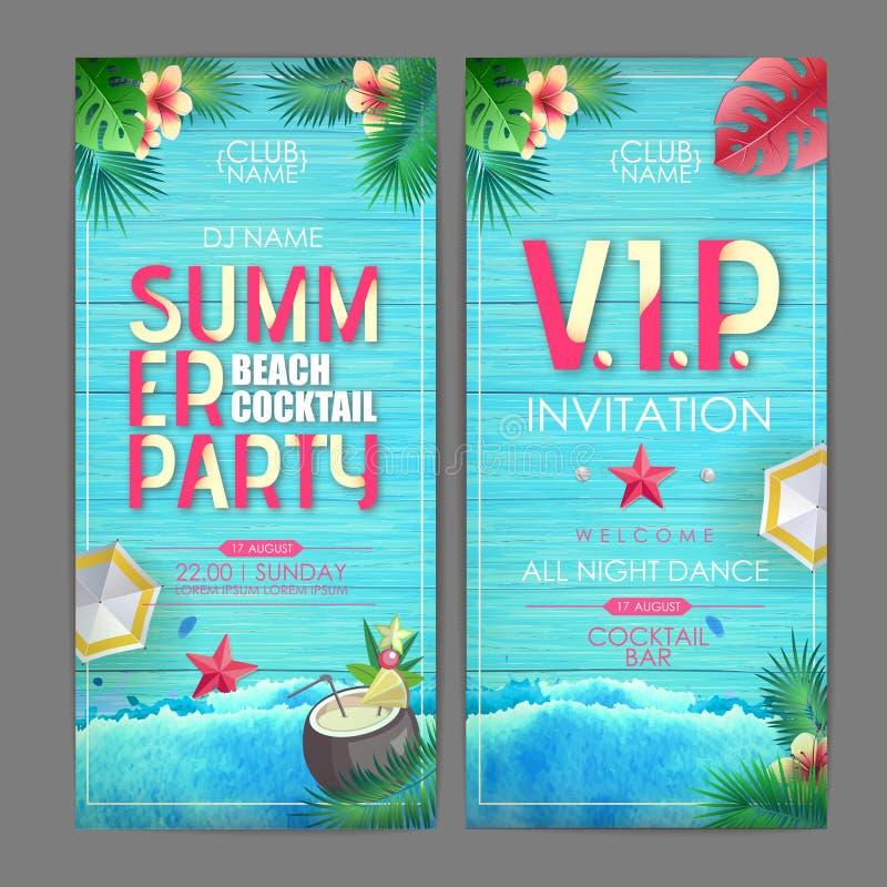 Projeto do cartaz do cocktail do ver?o Projeto do convite do partido de disco no fundo de madeira do grunge com folhas tropicas ilustração do vetor