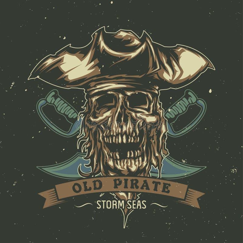 Projeto do cartaz com o pirata inoperante ilustrado no chapéu ilustração stock