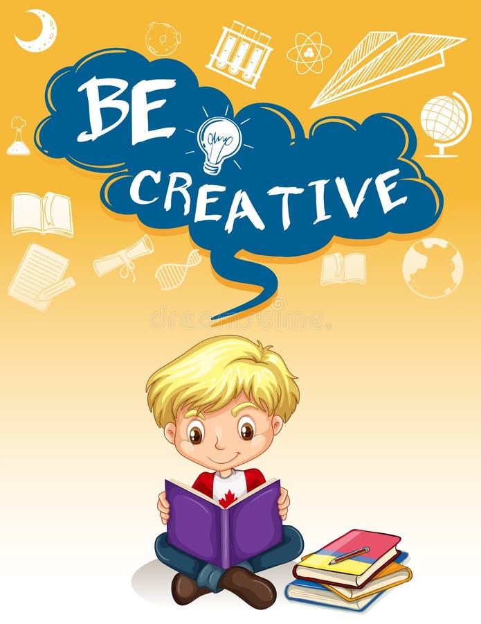 Projeto do cartaz com os livros de leitura do menino ilustração royalty free