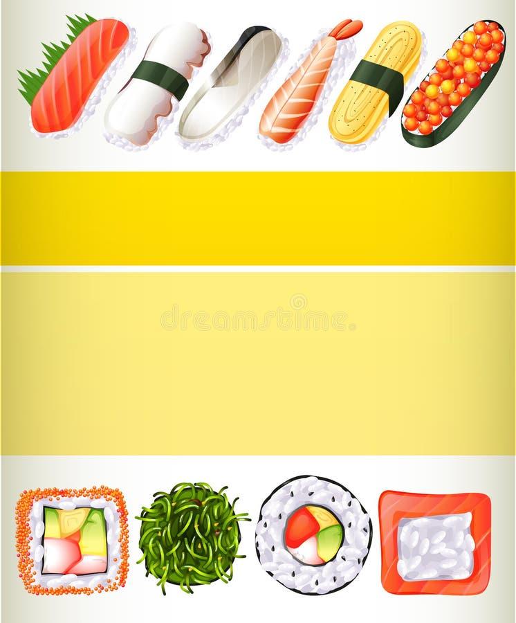 Projeto do cartaz com rolos de sushi diferentes ilustração stock