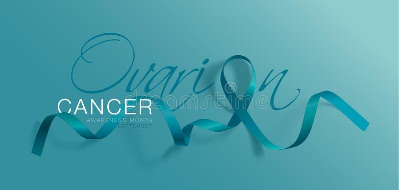 Projeto do cartaz da caligrafia da conscientização do câncer do ovário Teal Ribbon realístico setembro é mês da conscientização d ilustração stock