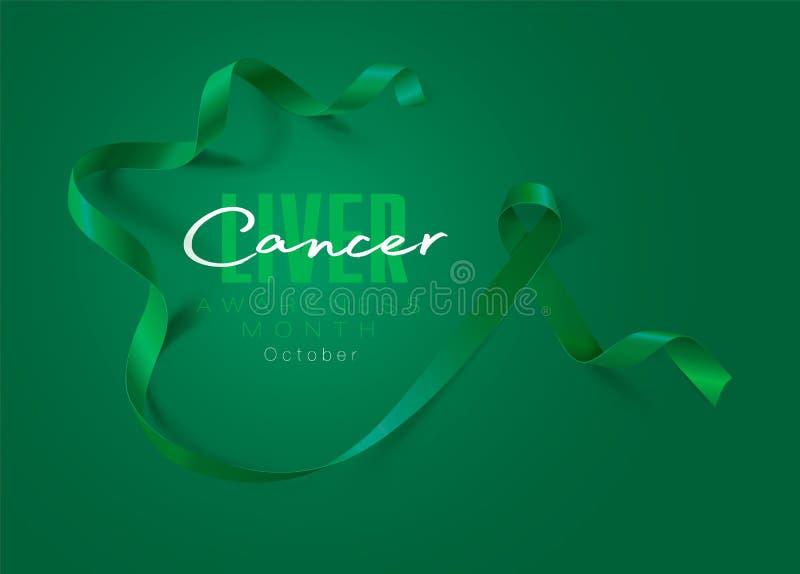 Projeto do cartaz da caligrafia da conscientiza??o do c?ncer do f?gado Emerald Green Ribbon real?stico outubro ? m?s da conscient ilustração do vetor