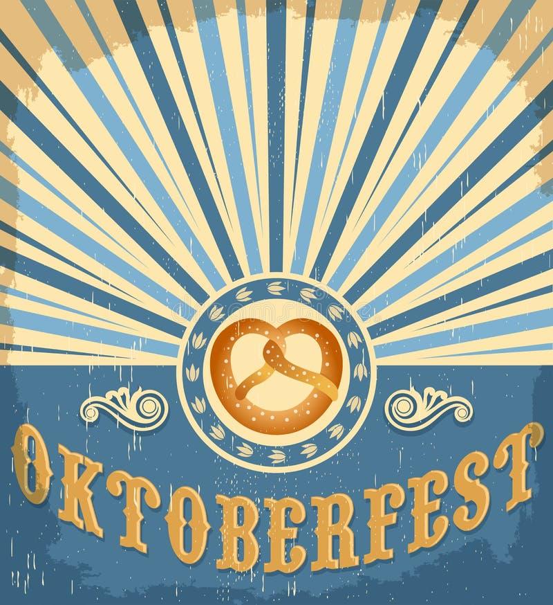 Projeto do cartaz da celebração do vintage de Oktoberfest ilustração do vetor