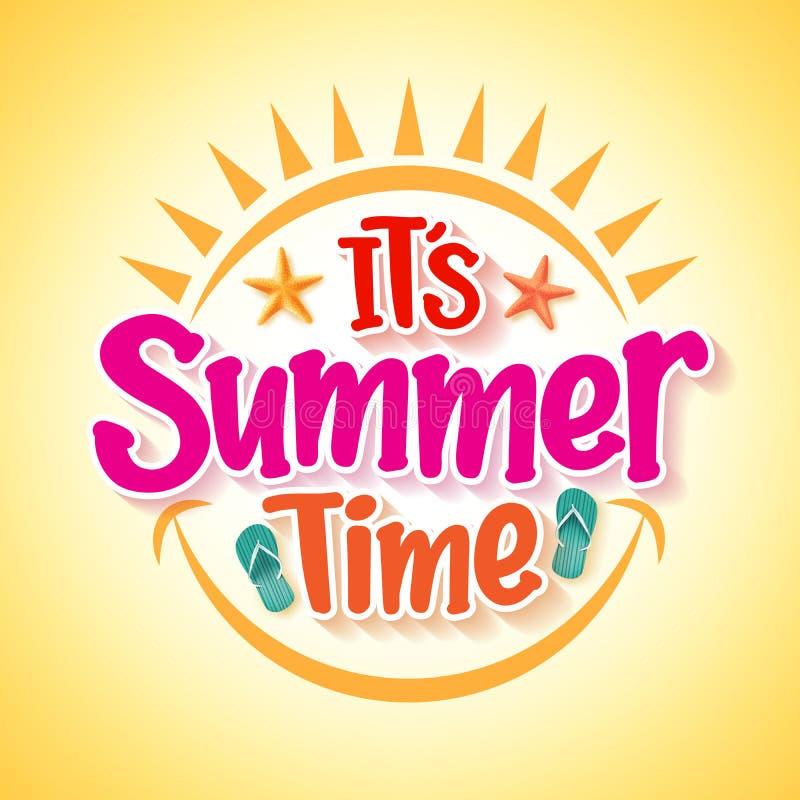 Projeto do cartaz das horas de verão com conceito feliz e do divertimento ilustração stock