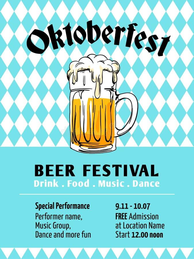 Projeto do cartaz de Oktoberfest Festival da cerveja de Munich com fundo da bandeira do bavaria Vidro completo da ilustração tira ilustração do vetor