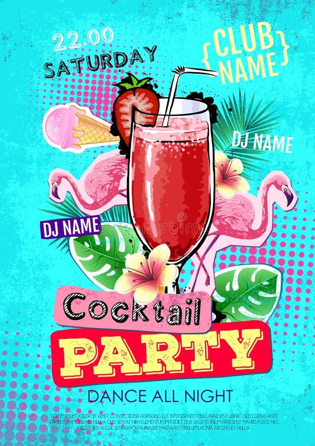 Projeto do cartaz do disco do cocktail Estilo do cutlure de Zine ilustração royalty free