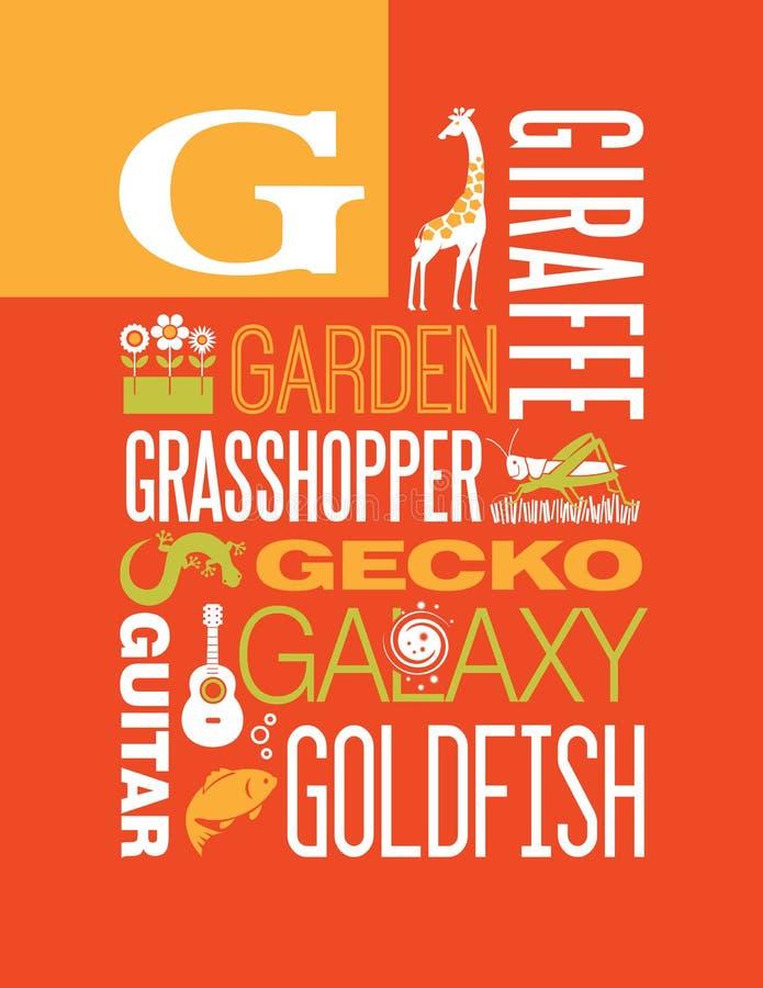 Projeto do cartaz do alfabeto da ilustração da tipografia das palavras de G da letra ilustração stock