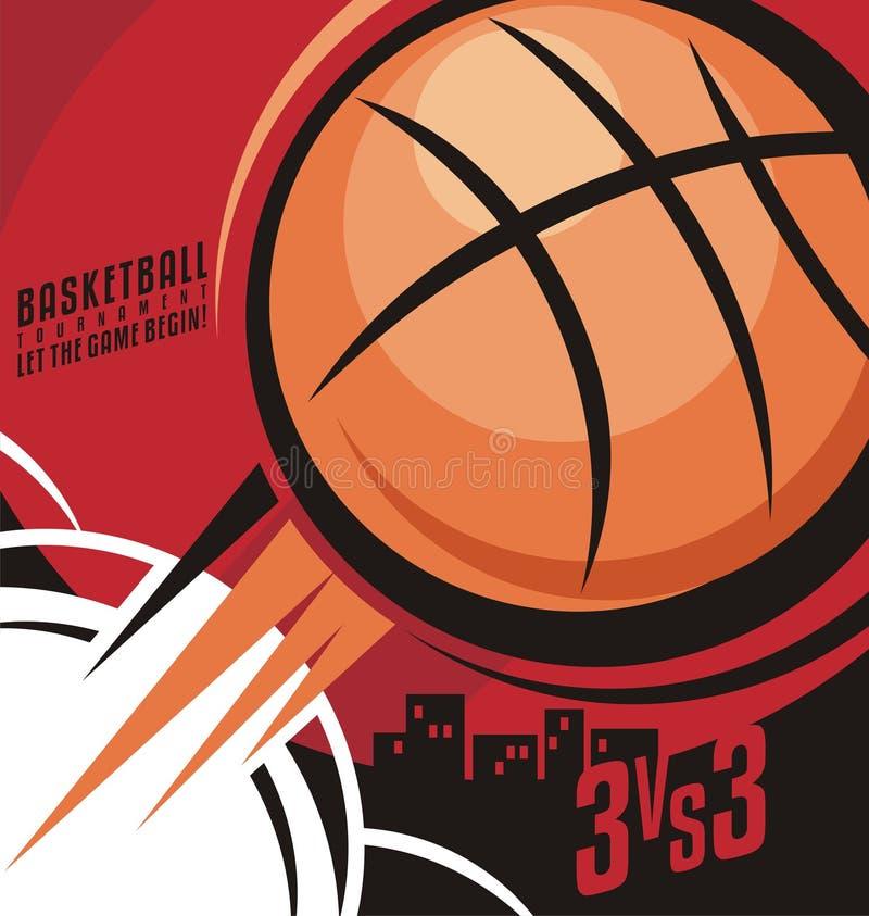 Projeto do cartaz do basquetebol ilustração stock