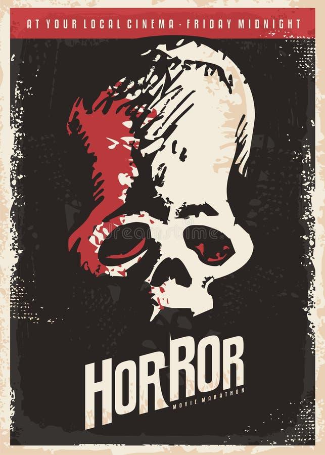 Projeto do cartaz do cinema para filmes de terror ilustração do vetor
