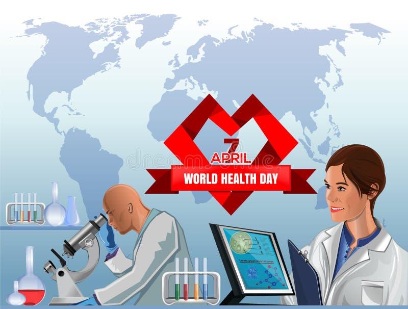 Projeto do cartaz do dia de saúde de mundo 7 de abril ilustração stock