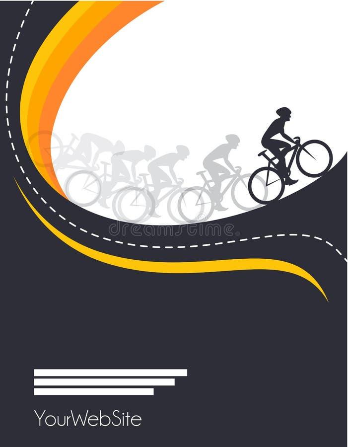 Projeto do cartaz do evento da raça de bicicleta do vetor ilustração do vetor