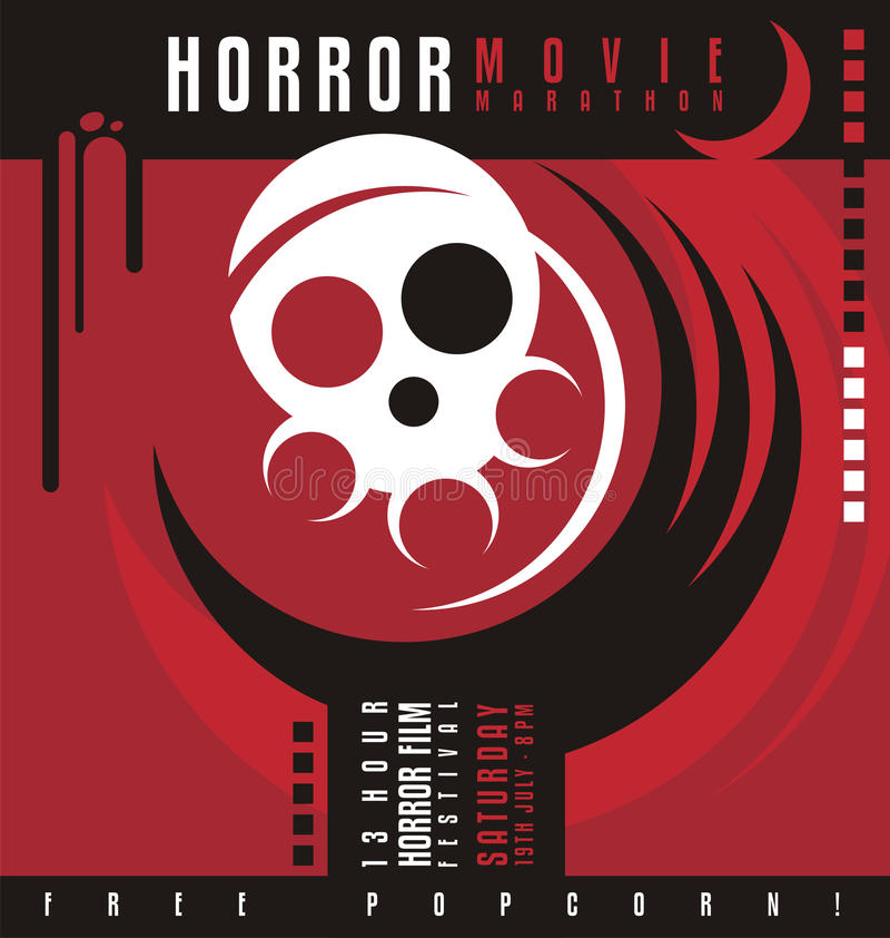 Projeto do cartaz do festival da maratona ou de filme de terror do filme de terror ilustração royalty free