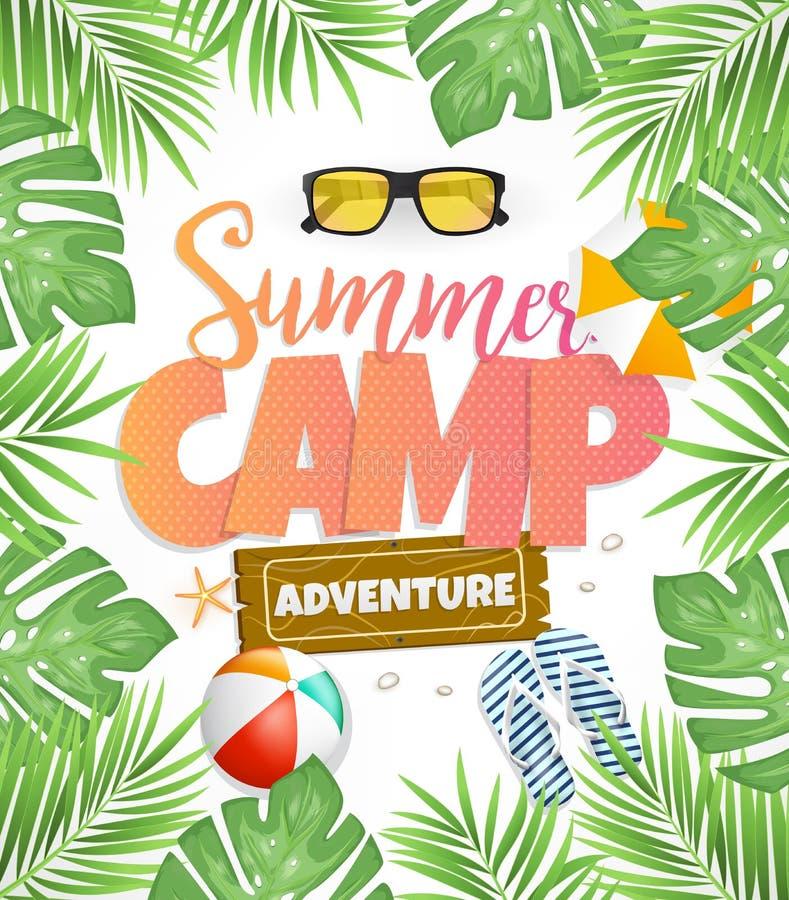 Projeto do cartaz do vetor do acampamento de verão para a aventura ilustração stock