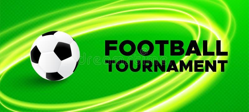 Projeto do cartaz do esporte do futebol com bola de futebol ilustração do vetor