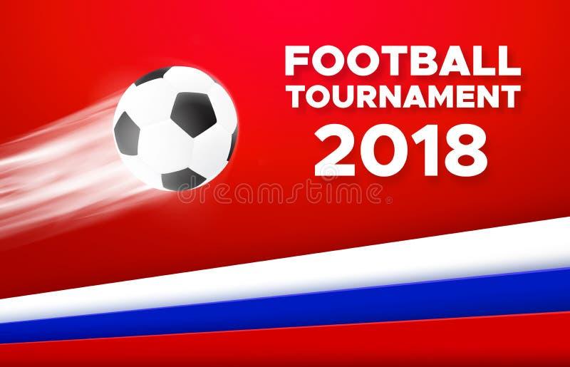 Projeto 2018 do cartaz do futebol com bola de futebol ilustração do vetor
