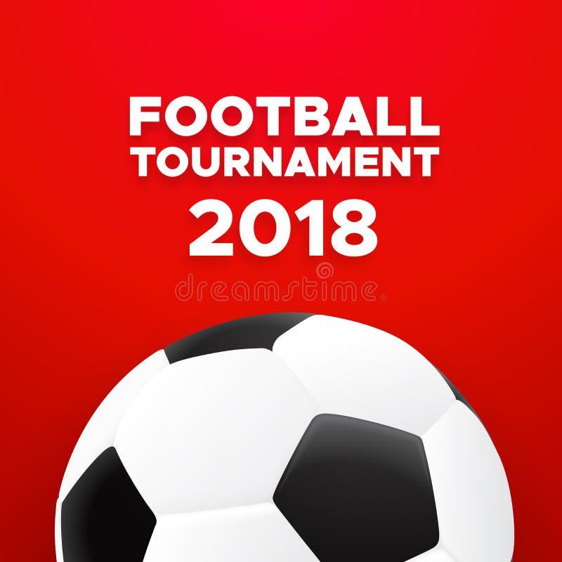 Projeto 2018 do cartaz do futebol com bola de futebol ilustração royalty free