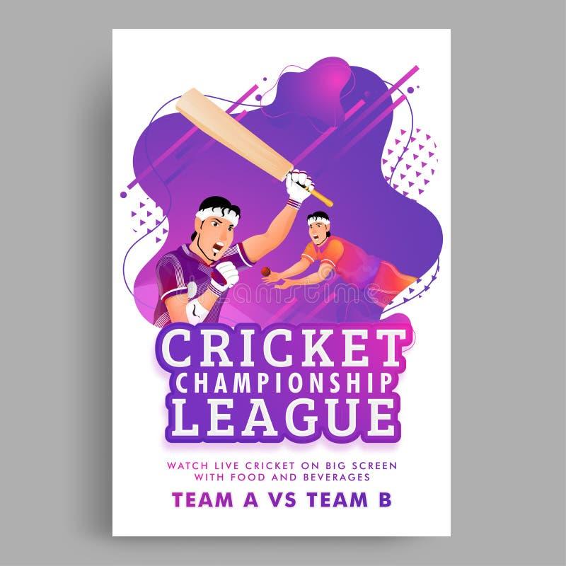 Projeto do cartaz ou da bandeira de Live Cricket Championship League com harmonia entre a equipe dois no respingo roxo da cor ilustração do vetor