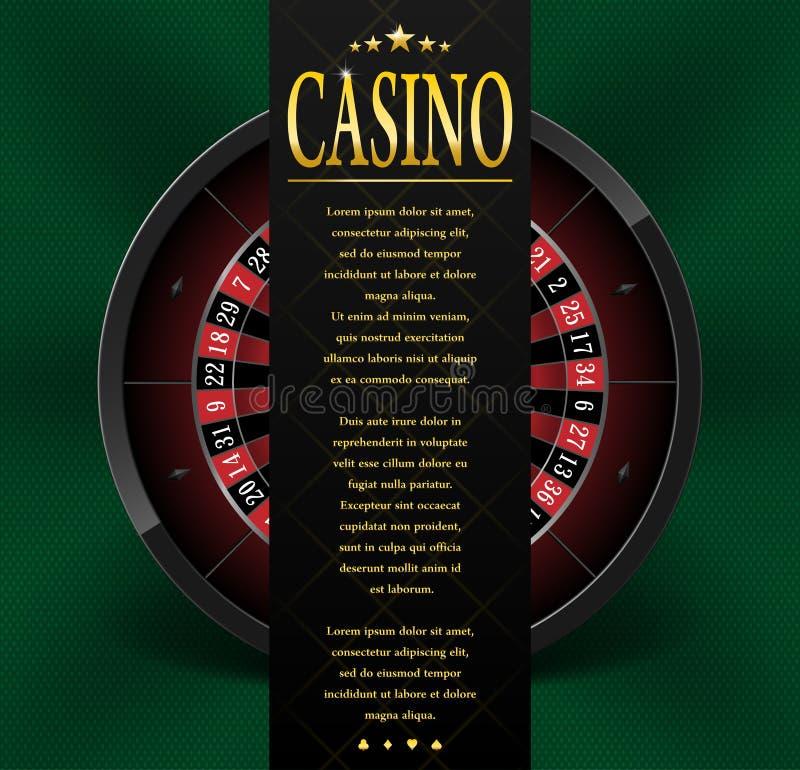 Projeto do cartaz ou do inseto do casino Molde da bandeira do casino com a roda de roleta isolada no fundo verde Jogando o casino ilustração do vetor
