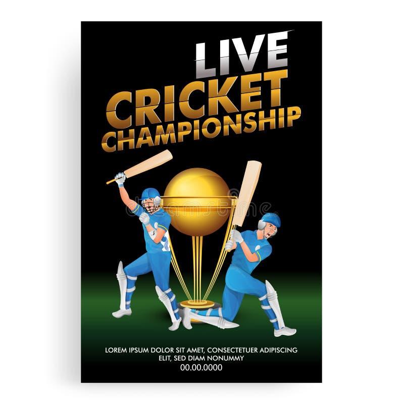 Projeto do cartaz ou do molde de Live Cricket Championship, jogador do grilo em jogar o trof?u da a??o e do vencimento ilustração royalty free