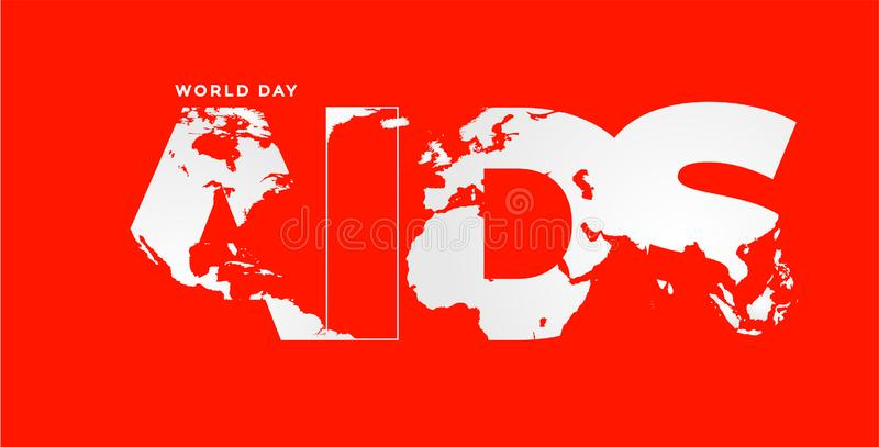 Projeto do cartaz para a campanha de sensibilização mundial do Dia Mundial do Sida ilustração do vetor