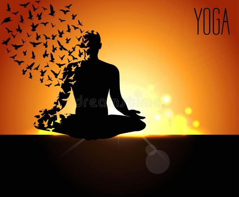 Projeto do cartaz para comemorar o dia internacional da ioga, pose da ioga com os pássaros que voam e o backgro do amanhecer ilustração do vetor