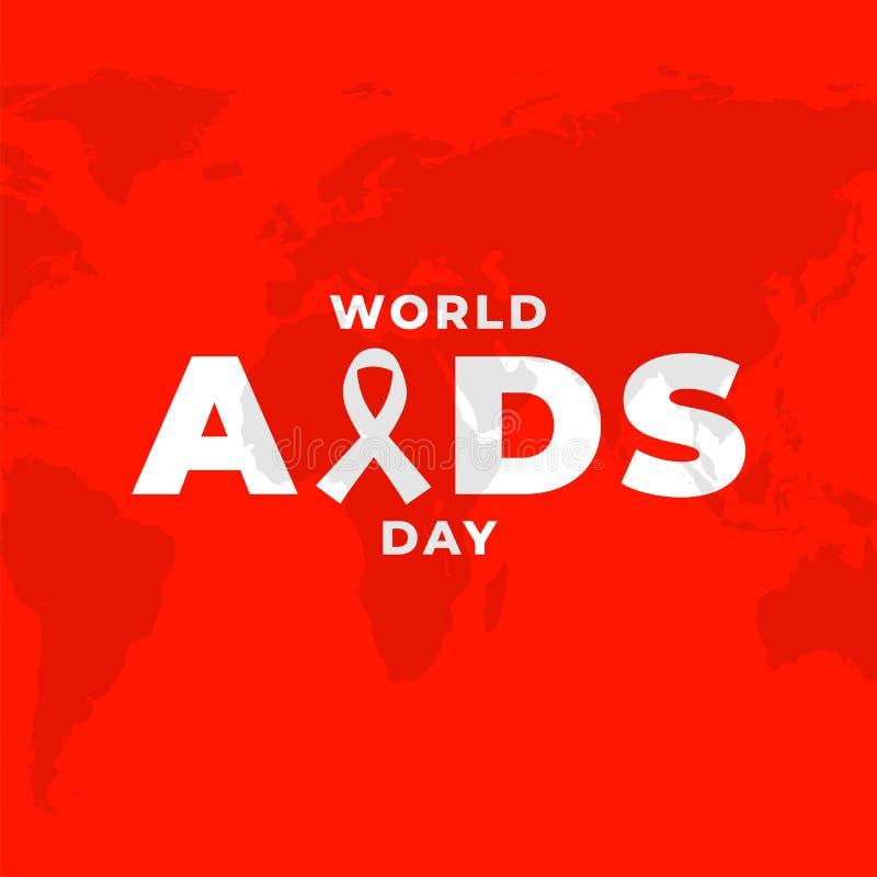 Projeto do cartaz para o cartaz da campanha do precaução do SIDA do mundo, da conscientização do VIH com fundo vermelho e o world ilustração royalty free