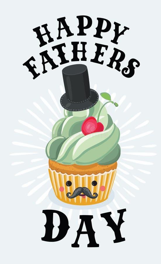 Projeto do cartaz do queque do dia do ` s do pai do vintage ilustração royalty free