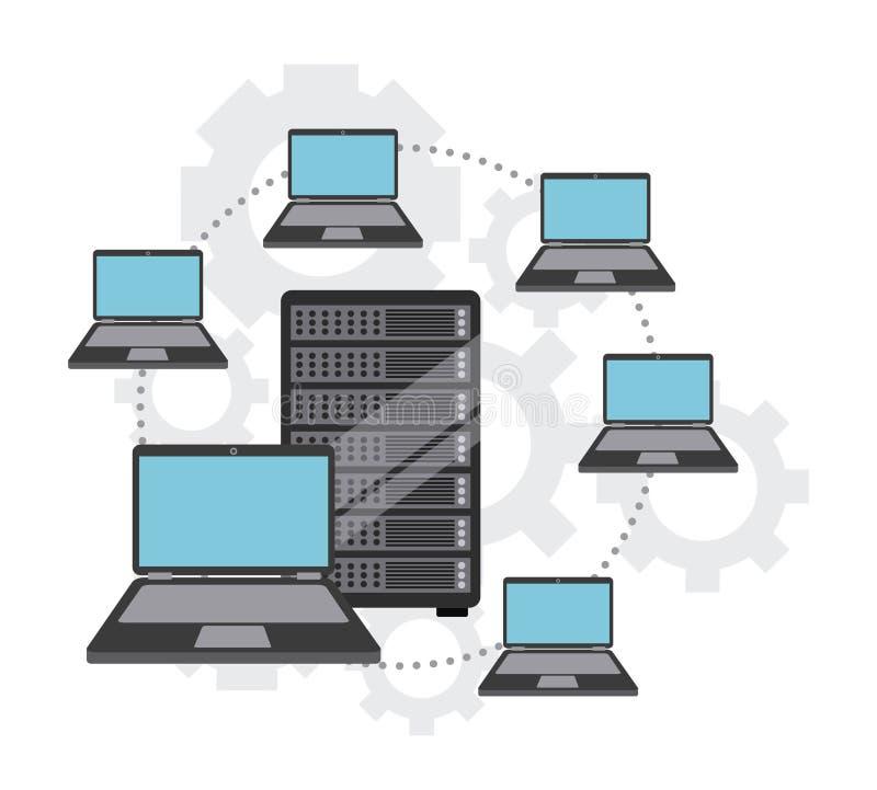 Projeto do centro de dados ilustração do vetor