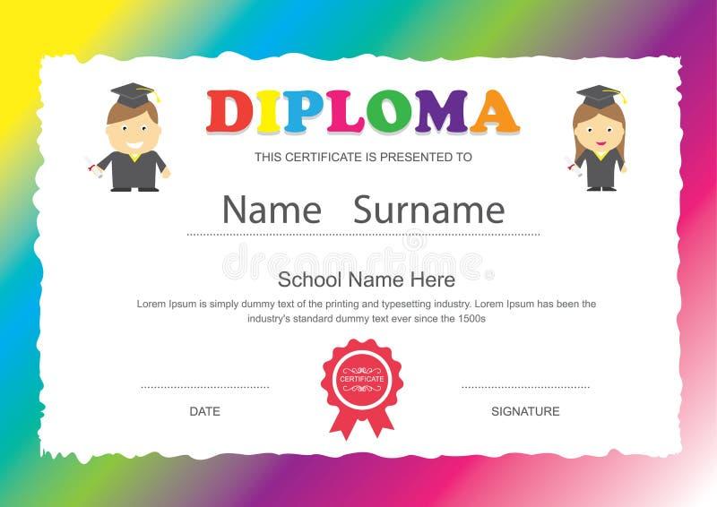 Projeto do certificado do diploma da escola primária das crianças do pré-escolar ilustração royalty free