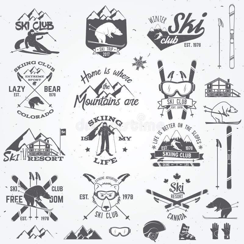 Projeto do clube do esqui Ilustração do vetor ilustração royalty free