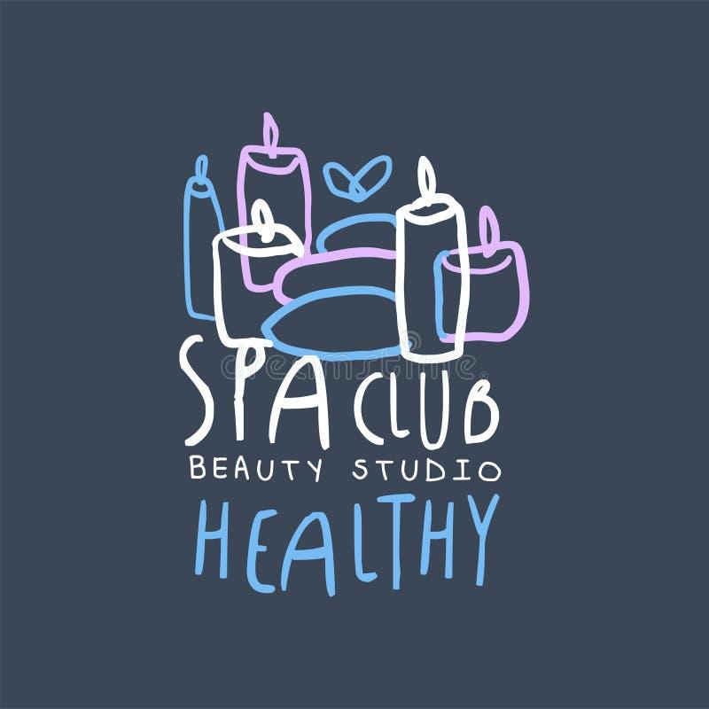 Projeto do clube, o saudável e da beleza dos termas do estúdio do logotipo, emblema para o bem-estar, ilustração tirada do vetor  ilustração royalty free